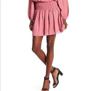 PARKER Sugar smocked A-line pink skirt size M